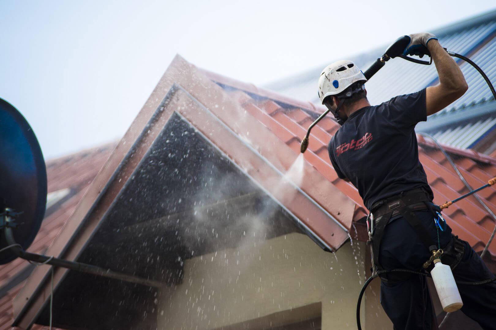 mycie dachu elewacji hali przemysłowej i malowanie